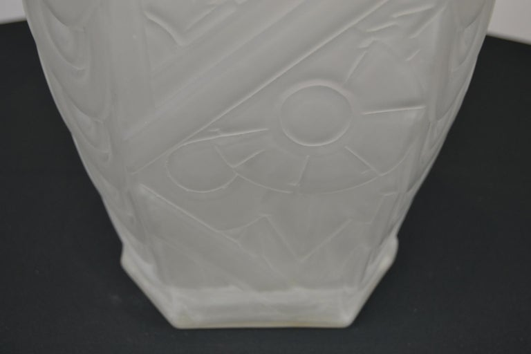 Glass French Art Deco Frosted Moulded Pressed Table Lamp Base in the Style of Degué For Sale