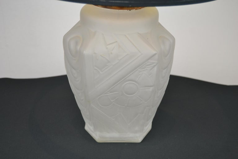 French Art Deco Frosted Moulded Pressed Table Lamp Base in the Style of Degué For Sale 4