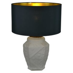 French Art Deco Frosted Moulded Pressed Table Lamp Base in the Style of Degué