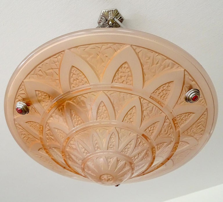French Art Deco Frosted Peach Glass Bronze Egyptian Design Pendant Chandelier For Sale 6