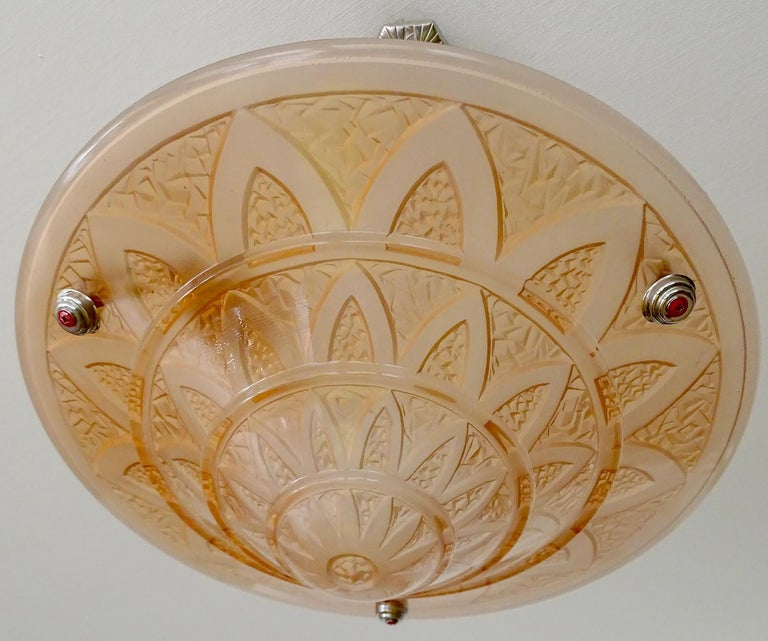 French Art Deco Frosted Peach Glass Bronze Egyptian Design Pendant Chandelier For Sale 13