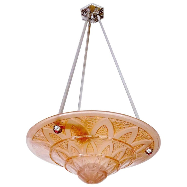 French Art Deco Frosted Peach Glass Bronze Egyptian Design Pendant Chandelier For Sale