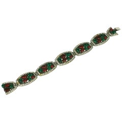 French Art Deco Fruit Salad Link Bracelet