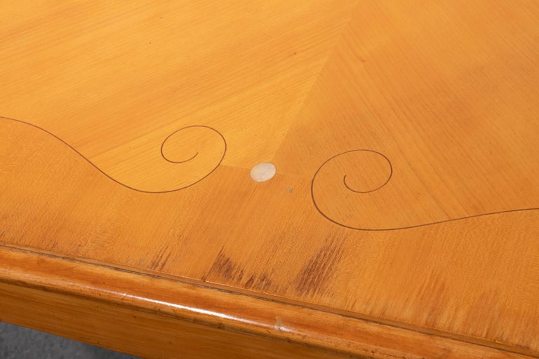 Mid-20th Century French Art Deco Fruitwood Draw-Leaf Dining Table