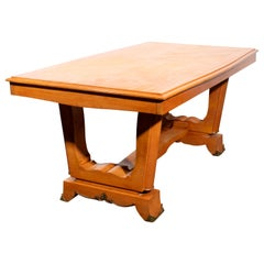 French Art Deco Fruitwood Draw-Leaf Dining Table