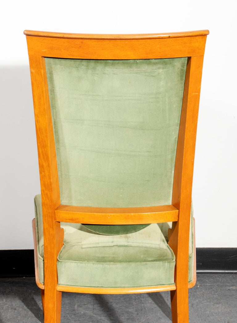 French Art Deco Fruitwood Upholstered Dining Chairs For Sale 2