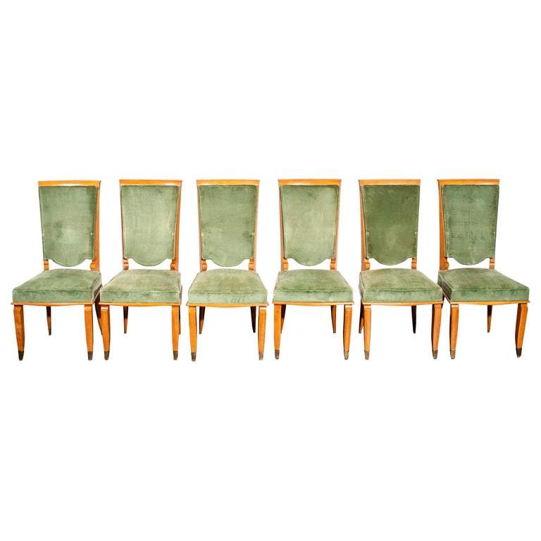 French Art Deco Fruitwood Upholstered Dining Chairs For Sale