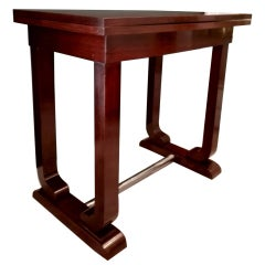 French Art Deco Game Table in Fine Exotic Woods with Folding Top, 1930