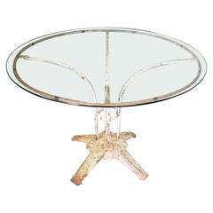 French Art Deco Garden Table with a Metal Frame and Glass Top