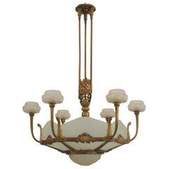 French Art Deco Genet and Michon Gilt Bronze Chandelier