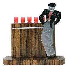 French Art Deco Gentleman at Bar Cocktail Sticks Set Probably Sudre, circa 1920