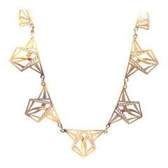 French Art Deco Geometric 18 Karat Gold Necklace