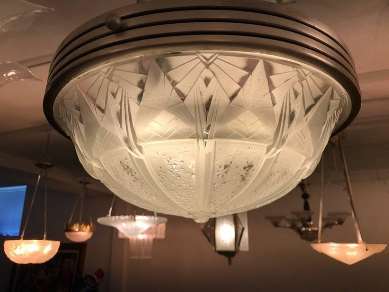 French Art Deco Geometric Chandelier Signed by Muller Frères Luneville For Sale 6