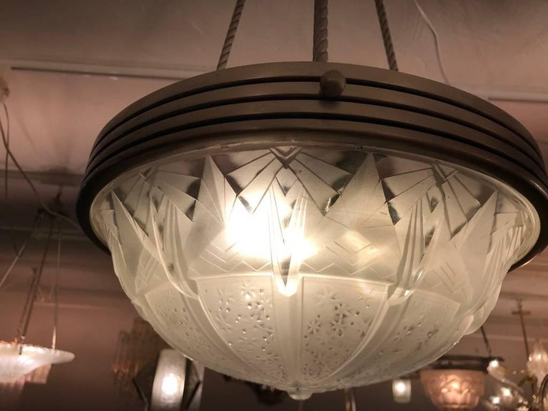 French Art Deco Geometric Chandelier Signed by Muller Frères Luneville For Sale 7