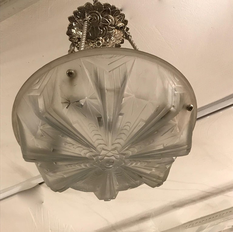 French Art Deco Geometric Chandelier Signed by Muller Frères Luneville In Excellent Condition For Sale In North Bergen, NJ