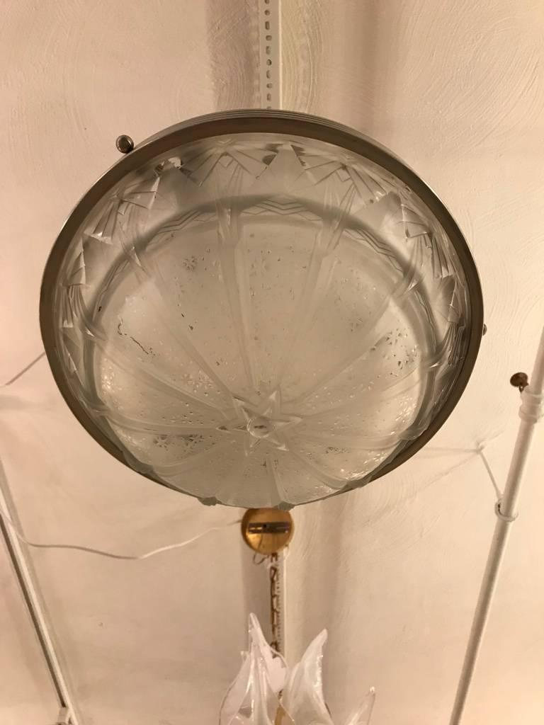 20th Century French Art Deco Geometric Chandelier Signed by Muller Frères Luneville For Sale