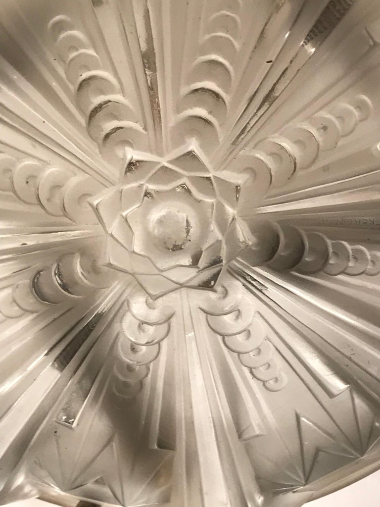 French Art Deco Geometric Chandelier Signed by Muller Frères Luneville For Sale 2