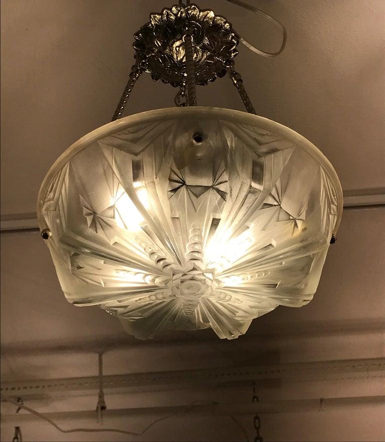 French Art Deco Geometric Chandelier Signed by Muller Frères Luneville For Sale 3