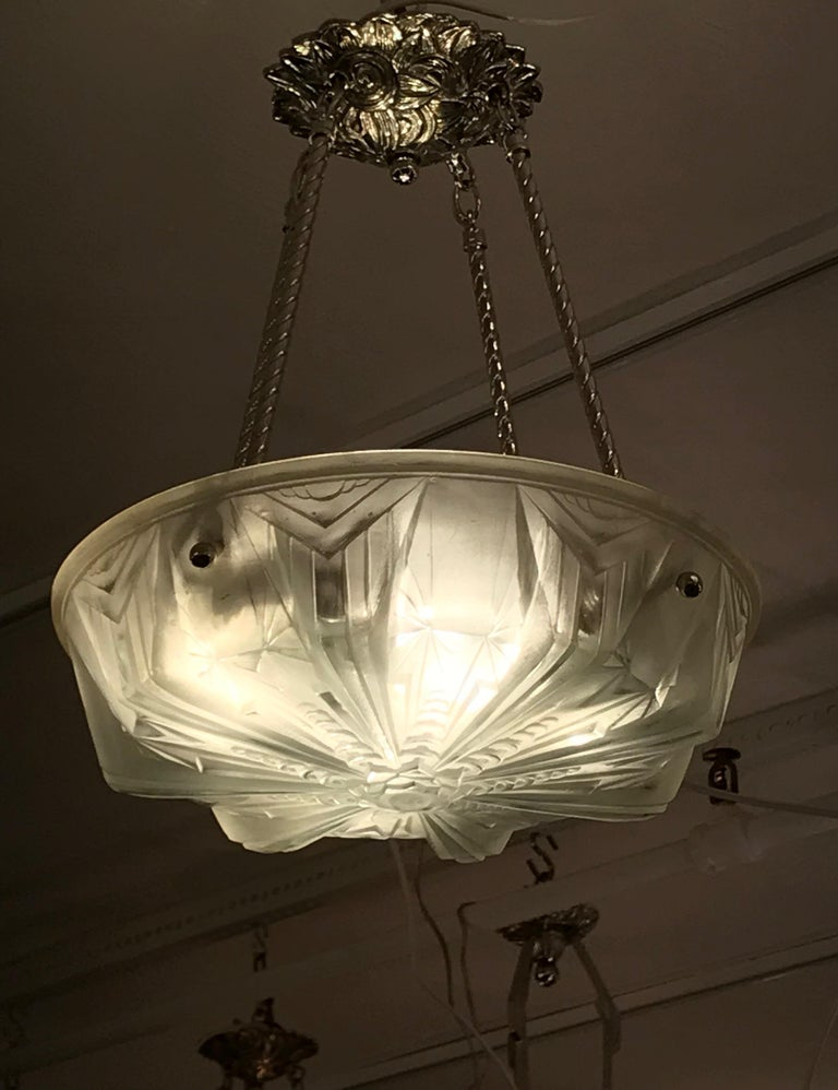French Art Deco Geometric Chandelier Signed by Muller Frères Luneville For Sale 4