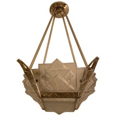 French Art Deco Geometric Chandelier Signed by Muller Frères Luneville