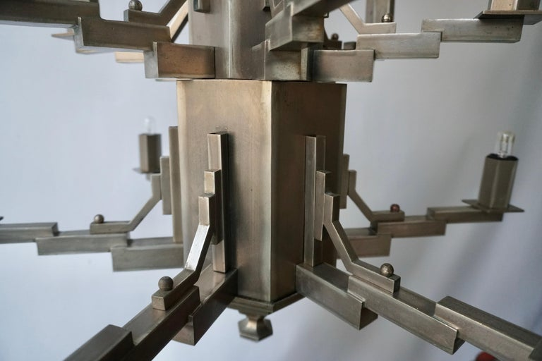 French Art Deco Geometric Tiered Steel Chandelier For Sale 7