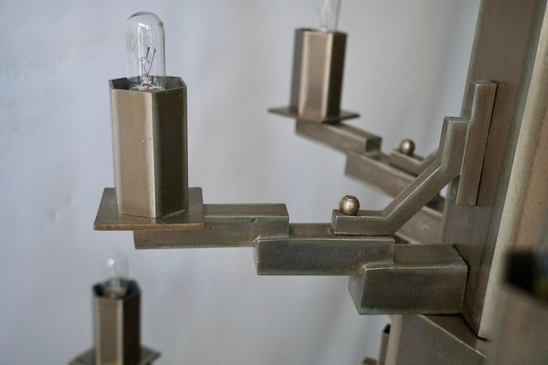 French Art Deco Geometric Tiered Steel Chandelier For Sale 8