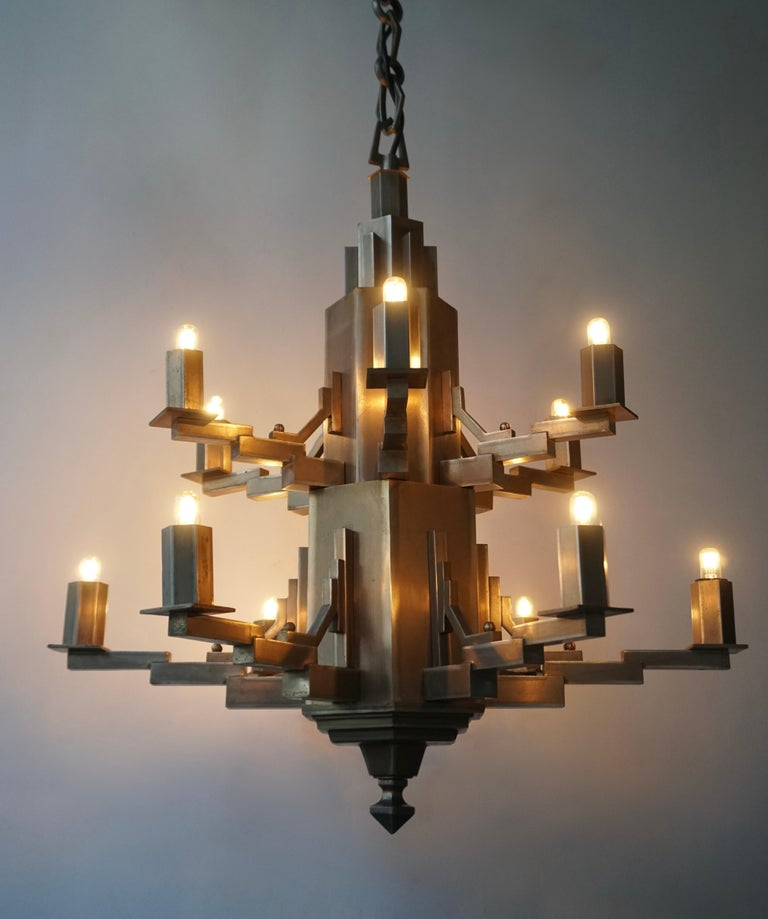 French Art Deco Geometric Tiered Steel Chandelier For Sale 1