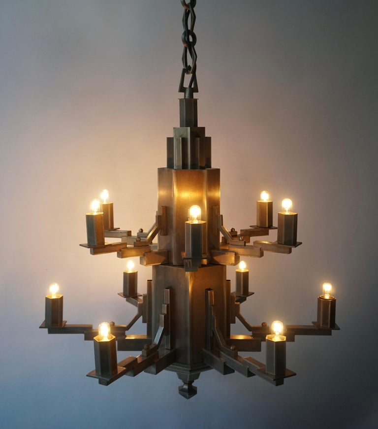 French Art Deco Geometric Tiered Steel Chandelier For Sale 2