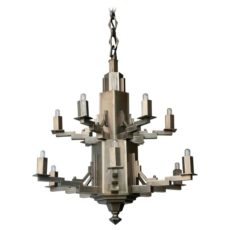 French Art Deco Geometric Tiered Steel Chandelier For Sale