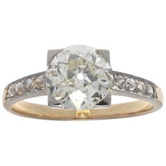 French Art Deco GIA 1.53 Carat Old European Cut Diamond Gold Engagement Ring