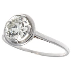 French Art Deco GIA 1.55 Carat Diamond Platinum Ring