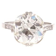 French Art Deco GIA 4.10 Carat Old European Cut Diamond Platinum Engagement Ring