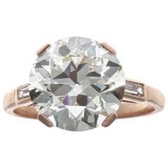 French Art Deco GIA 4.59 Carat Old European Cut Diamond Gold Ring