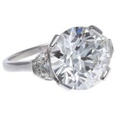 French Art Deco GIA 5.50 Carat Old European Cut Diamond Platinum Ring