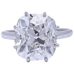 French Art Deco GIA Certified 6.33 Carat Old Mine Cut Diamond Platinum Ring