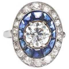 French Art Deco GIA Certified Old European Cut Diamond Sapphire Platinum Ring
