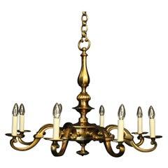 French Art Deco Gilded Bronze 8-Light Antique Chandelier