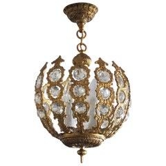 French Art Deco Gilt Bronze Crystal Four-Light Chandelier or Lantern, 1930-1939