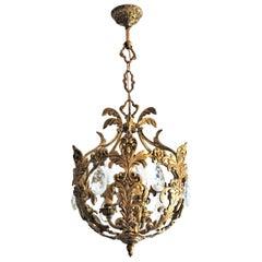 French Art Deco Gilt Bronze Crystal Three-Light Chandelier or Lantern, 1910-1920