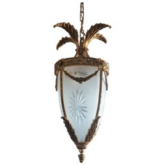 French Art Deco Gilt Bronze Cut Fronted Glass Lantern