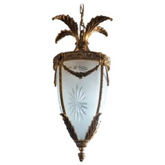 French Art Deco Gilt Bronze Cut Fronted Glass Lantern