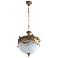 French Art Deco Gilt Bronze Cut Glass Chandelier or Flush Mount