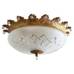 French Art Deco Gilt Bronze Cut Glass Two-Light Flush Mount, Ceiling Light