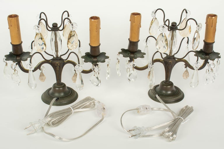 French Art Deco Girandole Lamps, a Pair For Sale 5