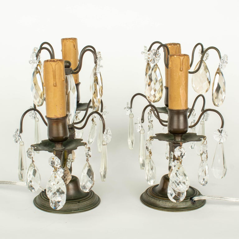 Cast French Art Deco Girandole Lamps, a Pair For Sale