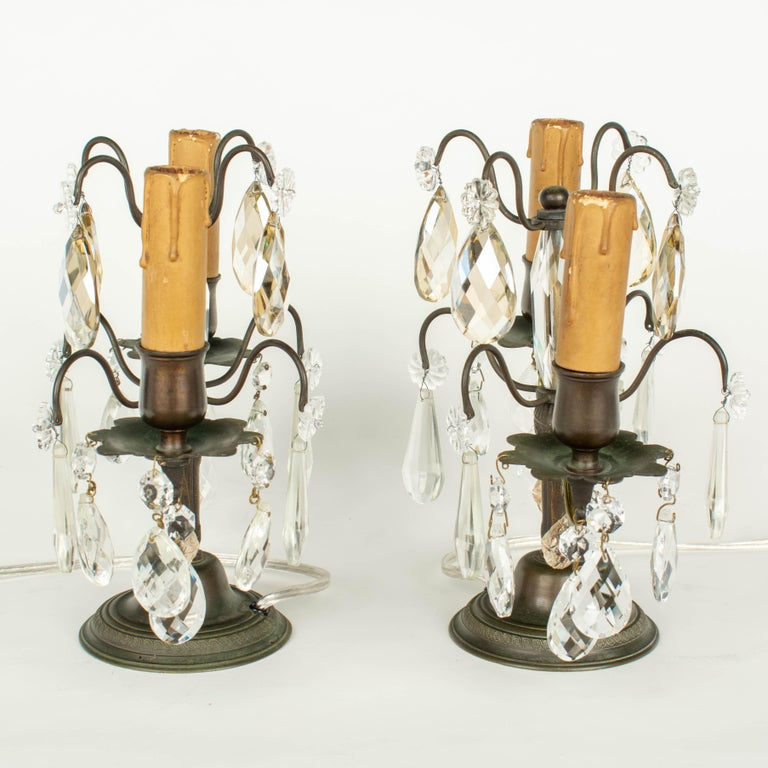 French Art Deco Girandole Lamps, a Pair In Good Condition For Sale In Winter Park, FL