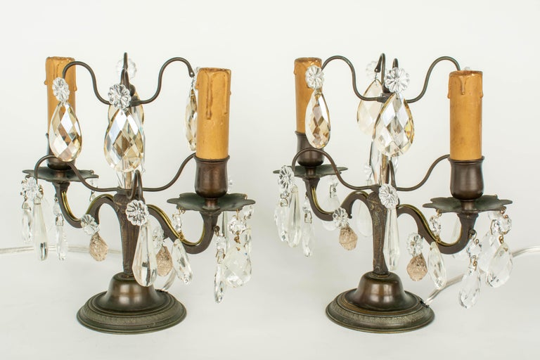 20th Century French Art Deco Girandole Lamps, a Pair For Sale