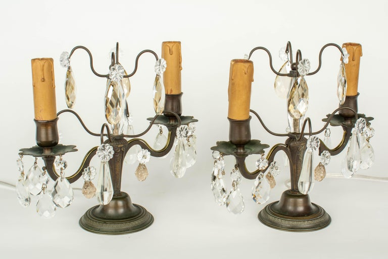 Brass French Art Deco Girandole Lamps, a Pair For Sale