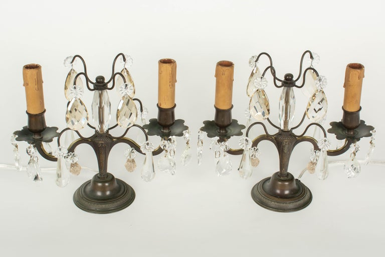 French Art Deco Girandole Lamps, a Pair For Sale 1