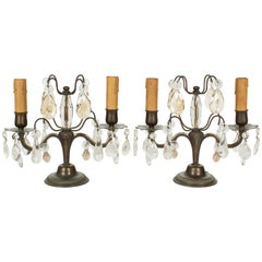 French Art Deco Girandole Lamps, a Pair